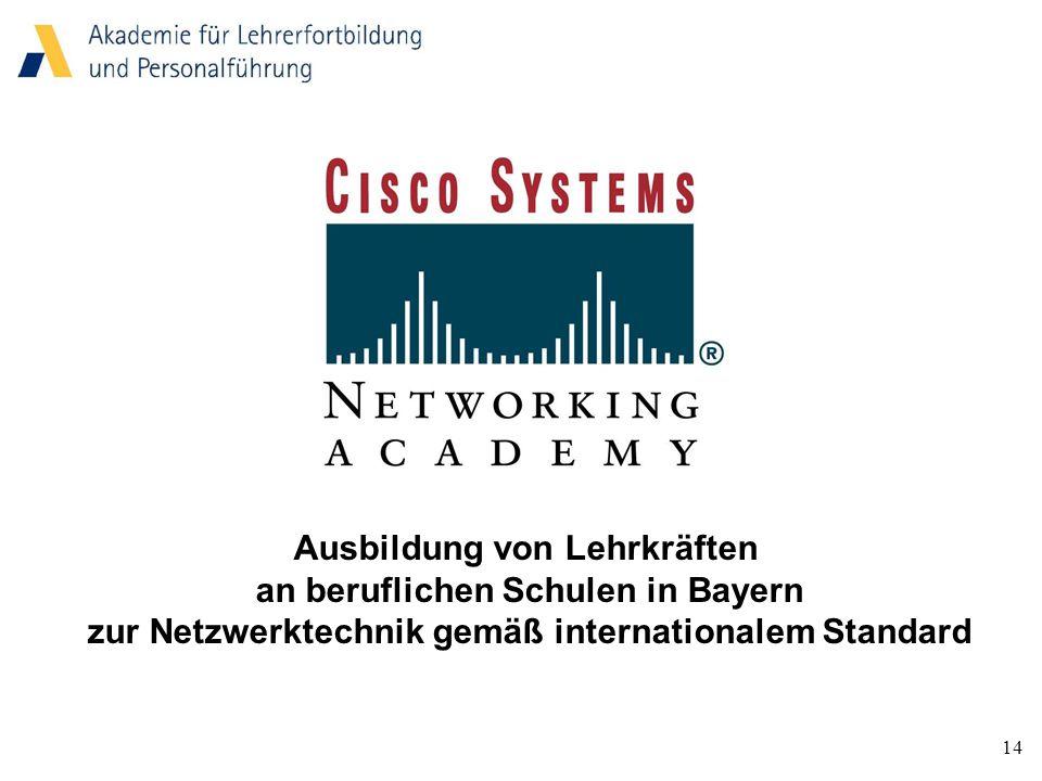 14 Ausbildung von Lehrkräften an beruflichen Schulen in Bayern zur Netzwerktechnik gemäß internationalem Standard