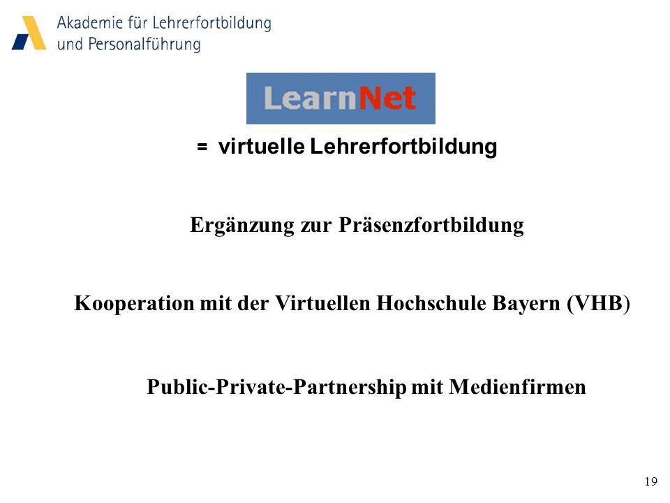 19 = virtuelle Lehrerfortbildung Ergänzung zur Präsenzfortbildung Kooperation mit der Virtuellen Hochschule Bayern (VHB) Public-Private-Partnership mit Medienfirmen