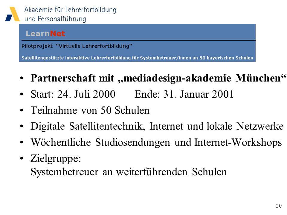 """20 Partnerschaft mit """"mediadesign-akademie München Start: 24."""