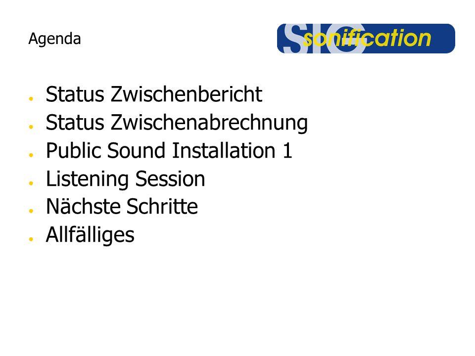 Agenda ● Status Zwischenbericht ● Status Zwischenabrechnung ● Public Sound Installation 1 ● Listening Session ● Nächste Schritte ● Allfälliges