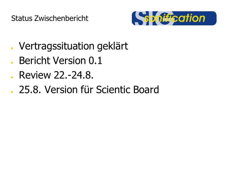 Status Zwischenbericht ● Vertragssituation geklärt ● Bericht Version 0.1 ● Review 22.-24.8. ● 25.8. Version für Scientic Board