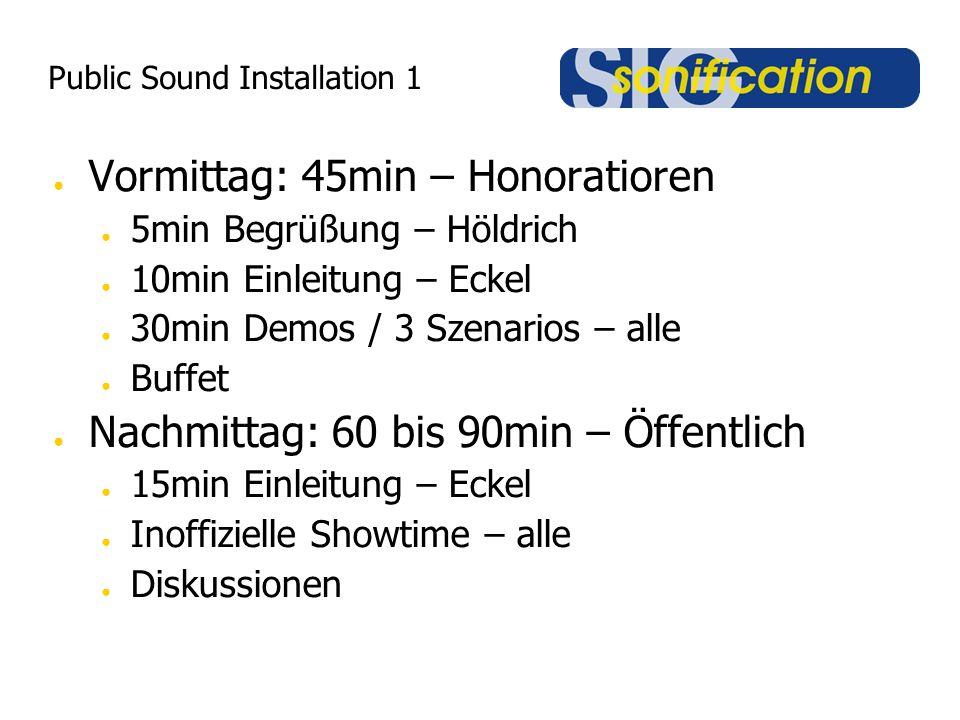 Public Sound Installation 1 ● Vormittag: 45min – Honoratioren ● 5min Begrüßung – Höldrich ● 10min Einleitung – Eckel ● 30min Demos / 3 Szenarios – all