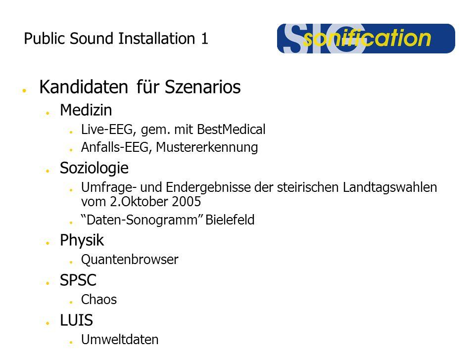 Public Sound Installation 1 ● Kandidaten für Szenarios ● Medizin ● Live-EEG, gem. mit BestMedical ● Anfalls-EEG, Mustererkennung ● Soziologie ● Umfrag