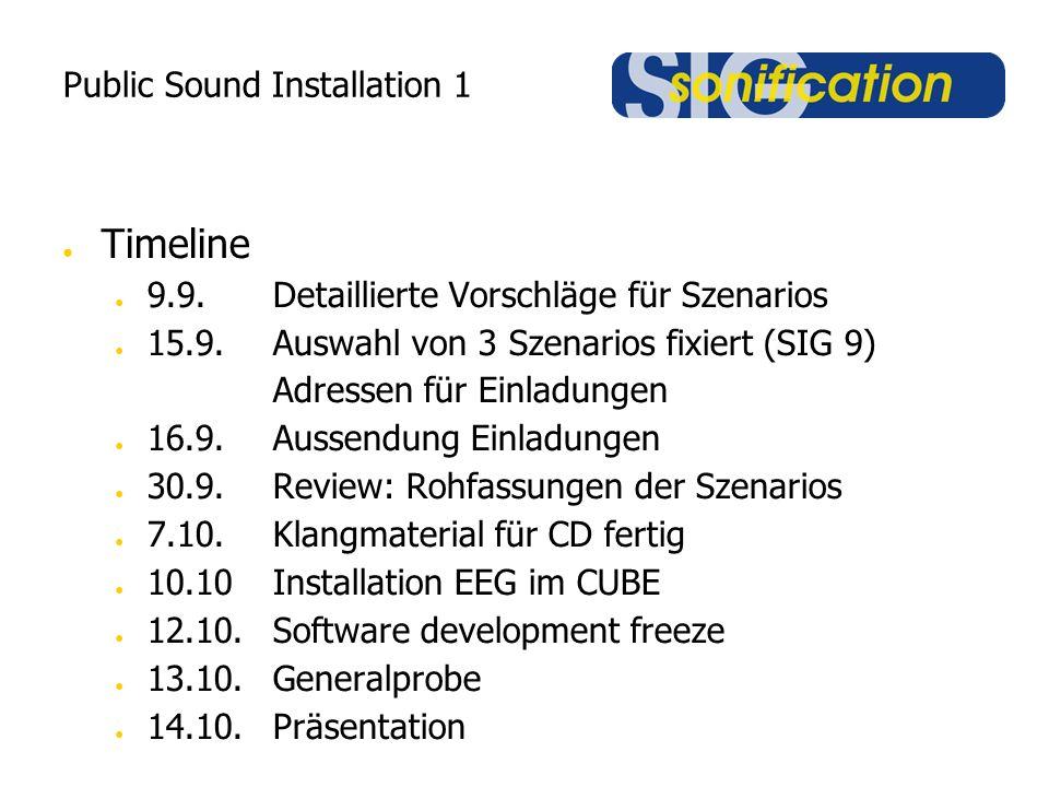 Public Sound Installation 1 ● Timeline ● 9.9.Detaillierte Vorschläge für Szenarios ● 15.9.Auswahl von 3 Szenarios fixiert (SIG 9) Adressen für Einladungen ● 16.9.Aussendung Einladungen ● 30.9.Review: Rohfassungen der Szenarios ● 7.10.Klangmaterial für CD fertig ● 10.10Installation EEG im CUBE ● 12.10.Software development freeze ● 13.10.Generalprobe ● 14.10.Präsentation