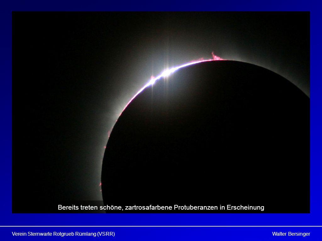 Walter BersingerVerein Sternwarte Rotgrueb Rümlang (VSRR) Bereits treten schöne, zartrosafarbene Protuberanzen in Erscheinung