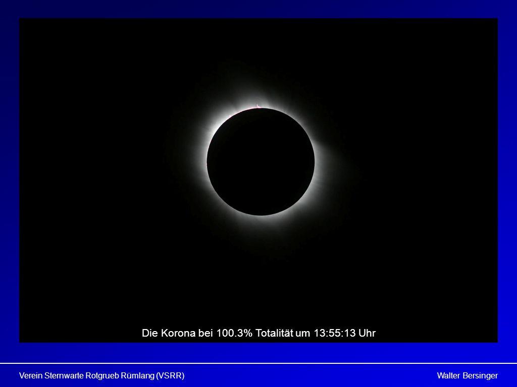 Walter BersingerVerein Sternwarte Rotgrueb Rümlang (VSRR) Die Korona bei 100.3% Totalität um 13:55:13 Uhr