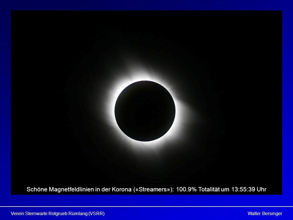 Walter BersingerVerein Sternwarte Rotgrueb Rümlang (VSRR) Schöne Magnetfeldlinien in der Korona («Streamers»): 100.9% Totalität um 13:55:39 Uhr