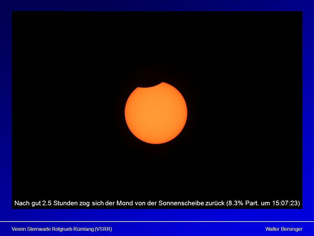 Walter BersingerVerein Sternwarte Rotgrueb Rümlang (VSRR) Nach gut 2.5 Stunden zog sich der Mond von der Sonnenscheibe zurück (8.3% Part. um 15:07:23)