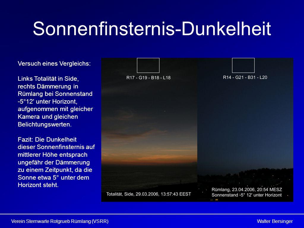 Walter BersingerVerein Sternwarte Rotgrueb Rümlang (VSRR) Sonnenfinsternis-Dunkelheit Versuch eines Vergleichs: Links Totalität in Side, rechts Dämmerung in Rümlang bei Sonnenstand -5°12 unter Horizont, aufgenommen mit gleicher Kamera und gleichen Belichtungswerten.