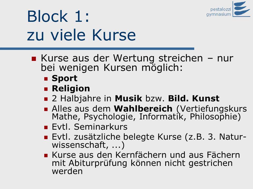 pestalozzi gymnasium Block 1: zu viele Kurse Kurse aus der Wertung streichen – nur bei wenigen Kursen möglich: Sport Religion 2 Halbjahre in Musik bzw