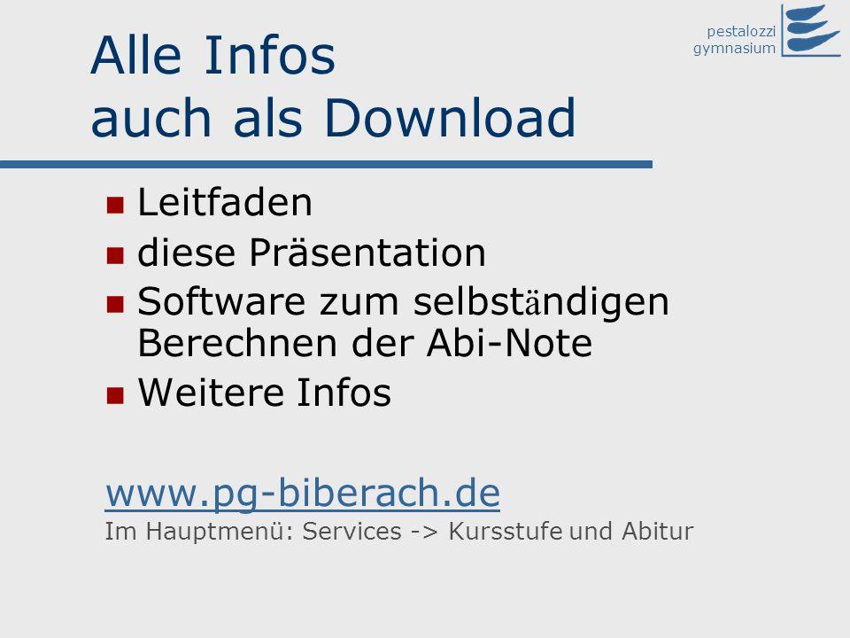pestalozzi gymnasium Alle Infos auch als Download Leitfaden diese Präsentation Software zum selbst ä ndigen Berechnen der Abi-Note Weitere Infos www.p