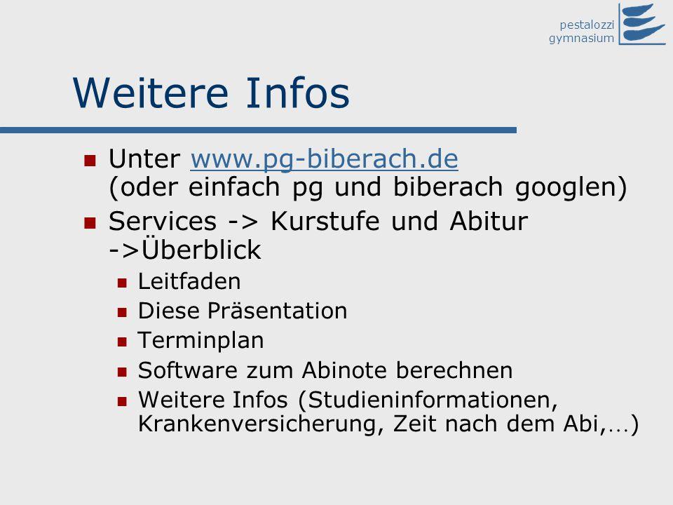 pestalozzi gymnasium Weitere Infos Unter www.pg-biberach.de (oder einfach pg und biberach googlen)www.pg-biberach.de Services -> Kurstufe und Abitur -