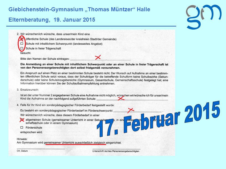 """Giebichenstein-Gymnasium """"Thomas Müntzer Halle Elternberatung, 19."""