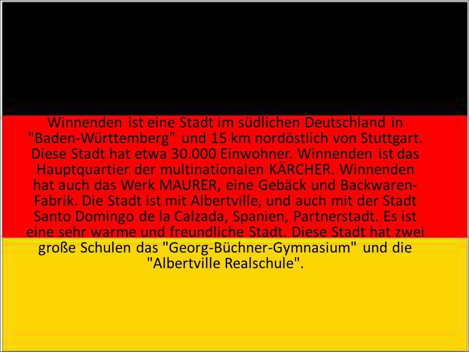 WINNENDEN / ALBERTVILLE Winnenden ist eine Stadt im südlichen Deutschland in Baden-Württemberg und 15 km nordöstlich von Stuttgart.