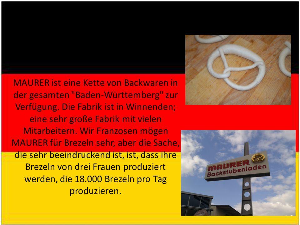 MAURER MAURER ist eine Kette von Backwaren in der gesamten Baden-Württemberg zur Verfügung.