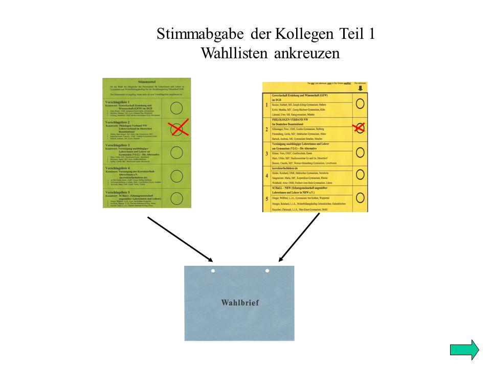 Stimmabgabe der Kollegen Teil 1 Wahllisten ankreuzen