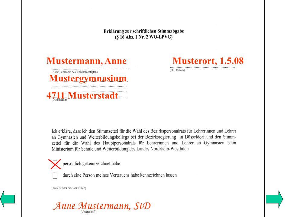 Mustermann, Anne Musterort, 1.5.08 Mustergymnasium 4711 Musterstadt Anne Mustermann, StD