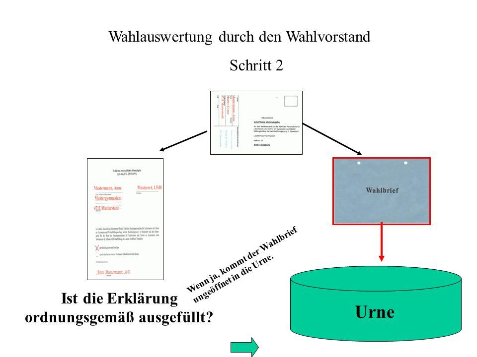 Wahlauswertung durch den Wahlvorstand Schritt 2 Ist die Erklärung ordnungsgemäß ausgefüllt.