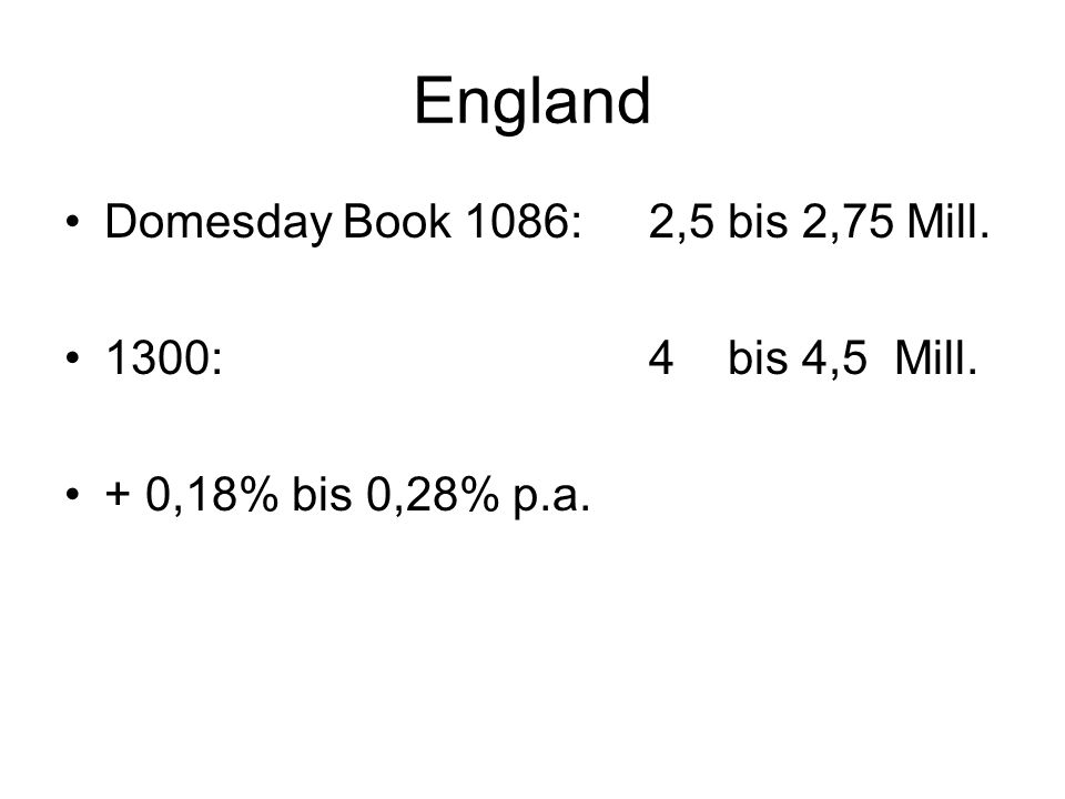 England Domesday Book 1086: 2,5 bis 2,75 Mill. 1300: 4 bis 4,5 Mill. + 0,18% bis 0,28% p.a.