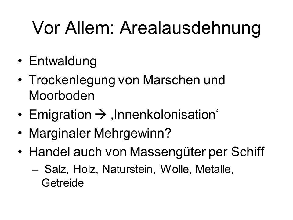 Vor Allem: Arealausdehnung Entwaldung Trockenlegung von Marschen und Moorboden Emigration  'Innenkolonisation' Marginaler Mehrgewinn.