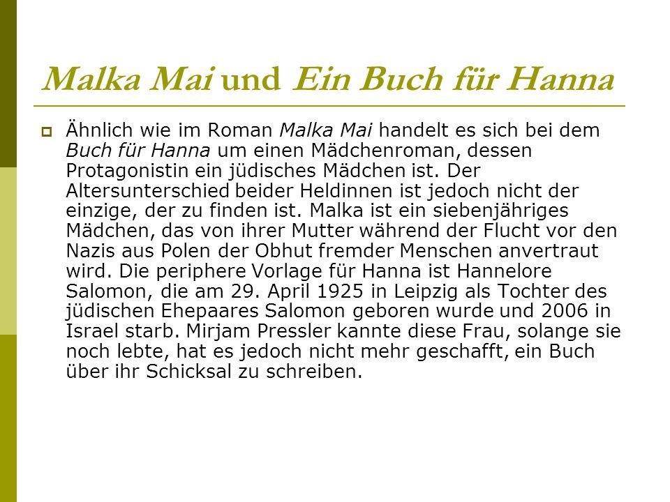 Malka Mai und Ein Buch für Hanna  Ähnlich wie im Roman Malka Mai handelt es sich bei dem Buch für Hanna um einen Mädchenroman, dessen Protagonistin e