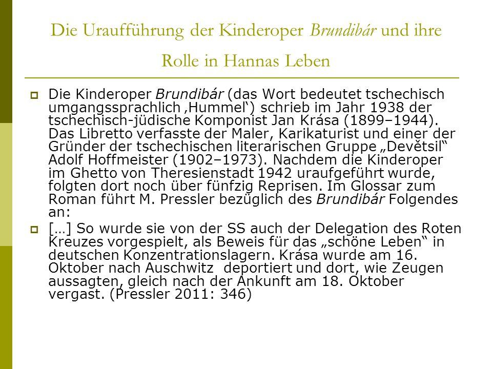 Die Uraufführung der Kinderoper Brundibár und ihre Rolle in Hannas Leben  Die Kinderoper Brundibár (das Wort bedeutet tschechisch umgangssprachlich '