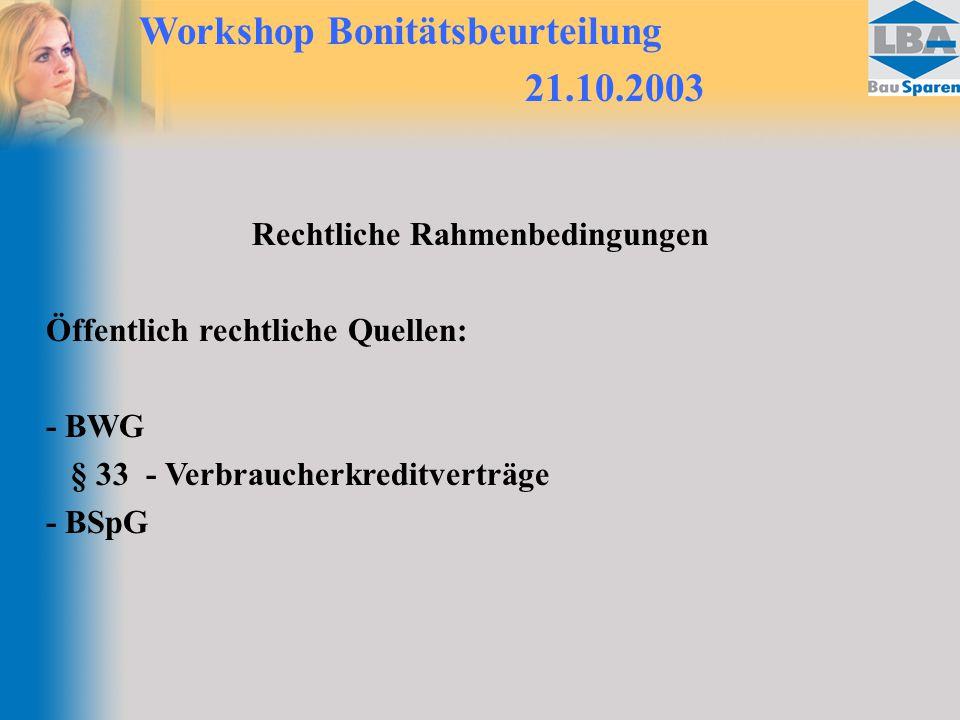 Workshop Bonitätsbeurteilung 21.10.2003 Rechtliche Rahmenbedingungen Öffentlich rechtliche Quellen: - BWG § 33 - Verbraucherkreditverträge - BSpG