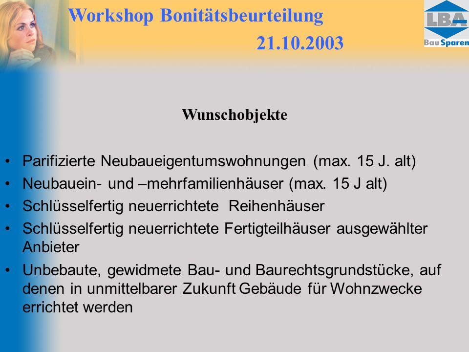 Workshop Bonitätsbeurteilung 21.10.2003 Wunschobjekte Parifizierte Neubaueigentumswohnungen (max. 15 J. alt) Neubauein- und –mehrfamilienhäuser (max.