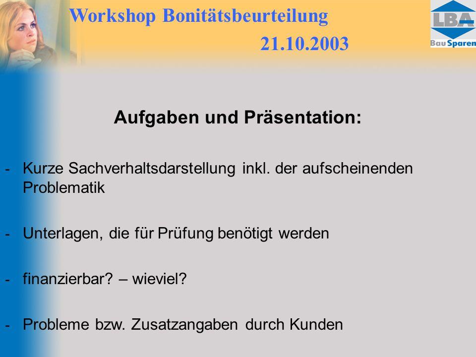 Workshop Bonitätsbeurteilung 21.10.2003 Aufgaben und Präsentation: - Kurze Sachverhaltsdarstellung inkl. der aufscheinenden Problematik - Unterlagen,