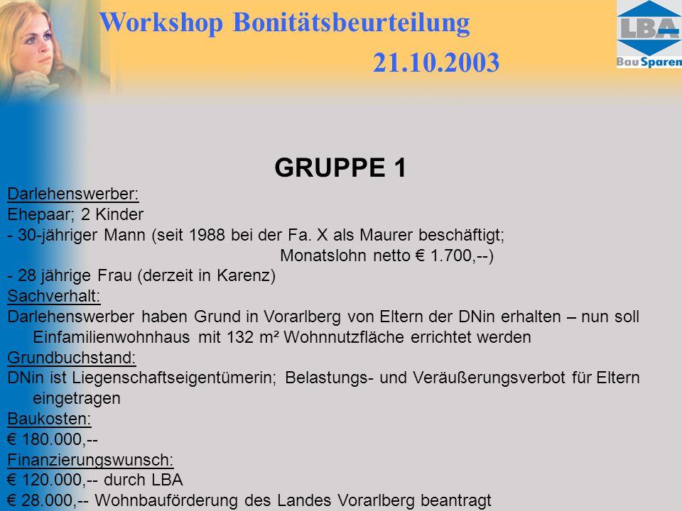 Workshop Bonitätsbeurteilung 21.10.2003 GRUPPE 1 Darlehenswerber: Ehepaar; 2 Kinder - 30-jähriger Mann (seit 1988 bei der Fa.