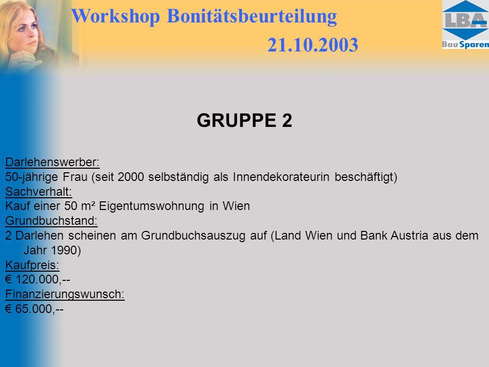 Workshop Bonitätsbeurteilung 21.10.2003 GRUPPE 2 Darlehenswerber: 50-jährige Frau (seit 2000 selbständig als Innendekorateurin beschäftigt) Sachverhal