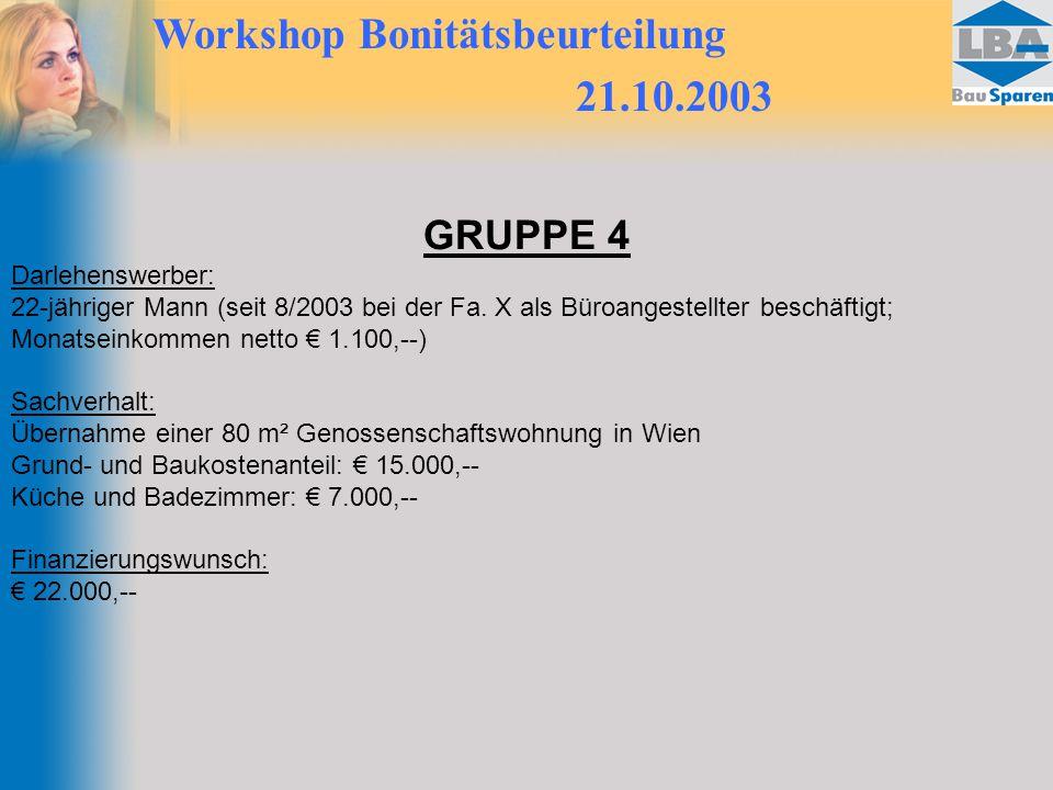 Workshop Bonitätsbeurteilung 21.10.2003 GRUPPE 4 Darlehenswerber: 22-jähriger Mann (seit 8/2003 bei der Fa. X als Büroangestellter beschäftigt; Monats