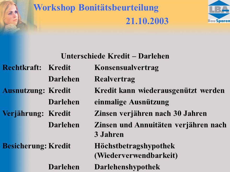 Workshop Bonitätsbeurteilung 21.10.2003 Unterschiede Kredit – Darlehen Rechtkraft:KreditKonsensualvertrag DarlehenRealvertrag Ausnutzung:KreditKredit