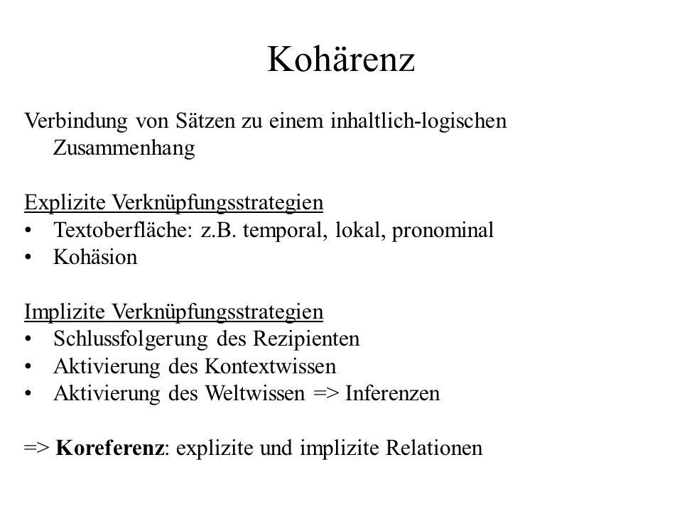 Kohärenz Verbindung von Sätzen zu einem inhaltlich-logischen Zusammenhang Explizite Verknüpfungsstrategien Textoberfläche: z.B. temporal, lokal, prono