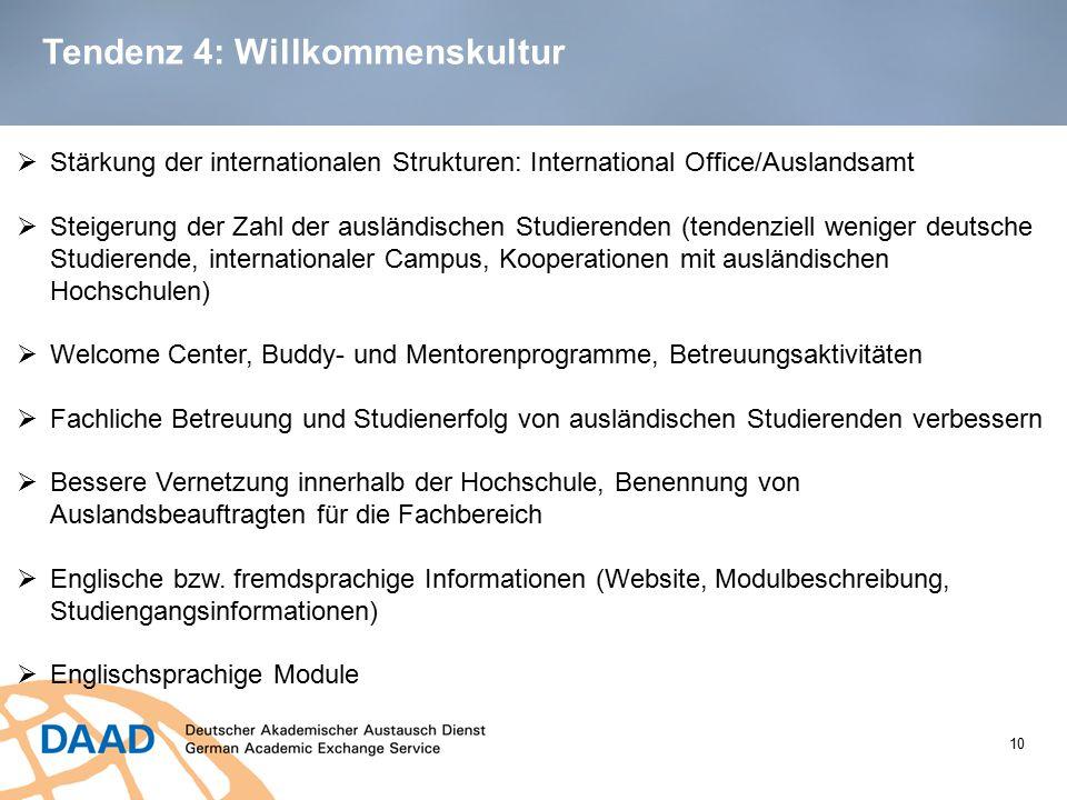 Tendenz 4: Willkommenskultur 10  Stärkung der internationalen Strukturen: International Office/Auslandsamt  Steigerung der Zahl der ausländischen St