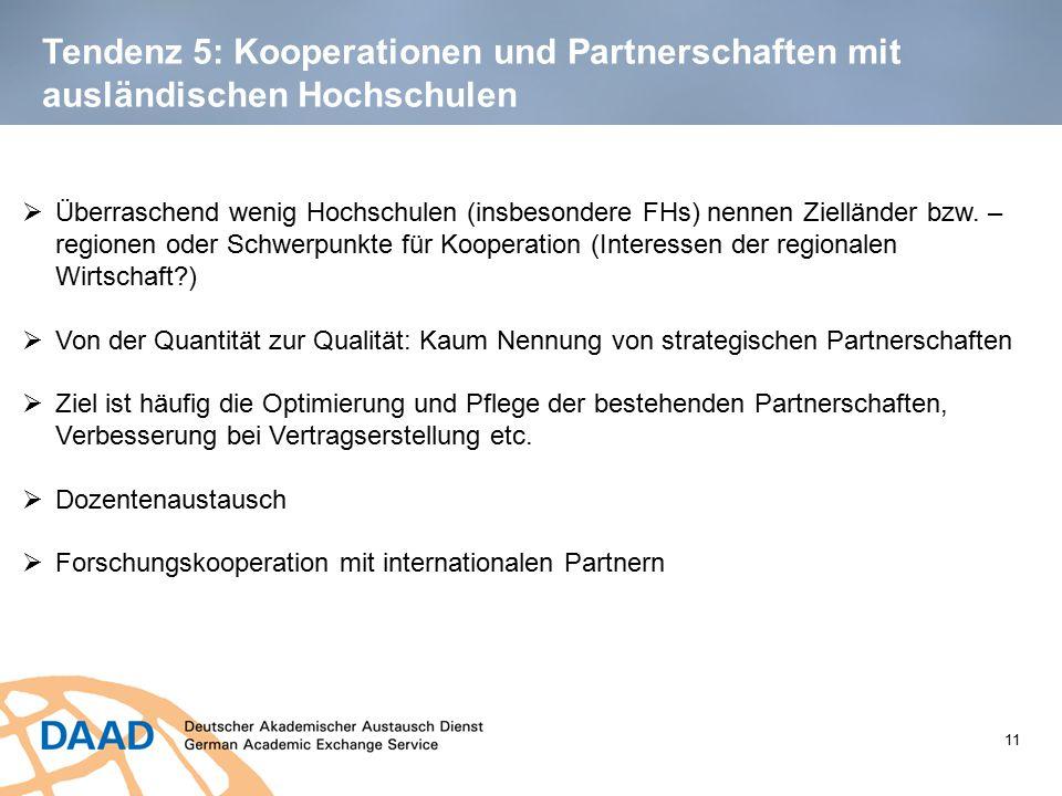 Tendenz 5: Kooperationen und Partnerschaften mit ausländischen Hochschulen 11  Überraschend wenig Hochschulen (insbesondere FHs) nennen Zielländer bz