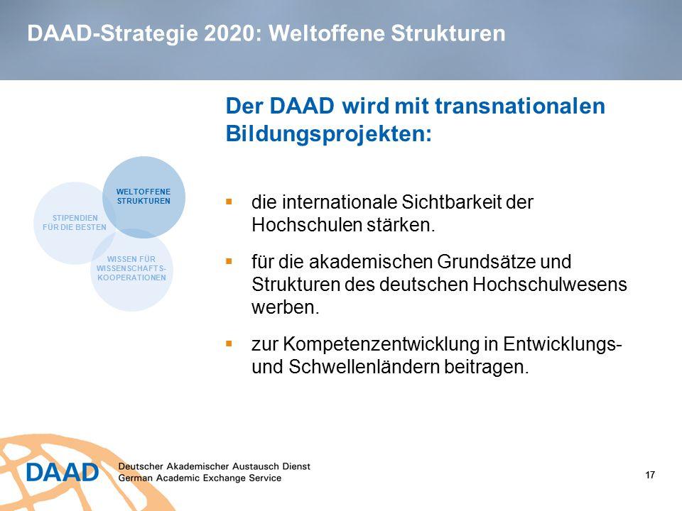 17 DAAD-Strategie 2020: Weltoffene Strukturen 17  die internationale Sichtbarkeit der Hochschulen stärken.  für die akademischen Grundsätze und Stru