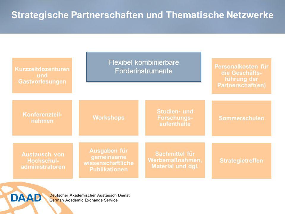 Strategische Partnerschaften und Thematische Netzwerke Flexibel kombinierbare Förderinstrumente