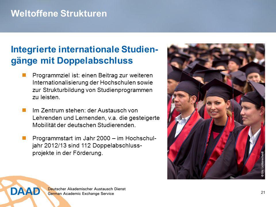 Weltoffene Strukturen 21 Integrierte internationale Studien- gänge mit Doppelabschluss Programmziel ist: einen Beitrag zur weiteren Internationalisier