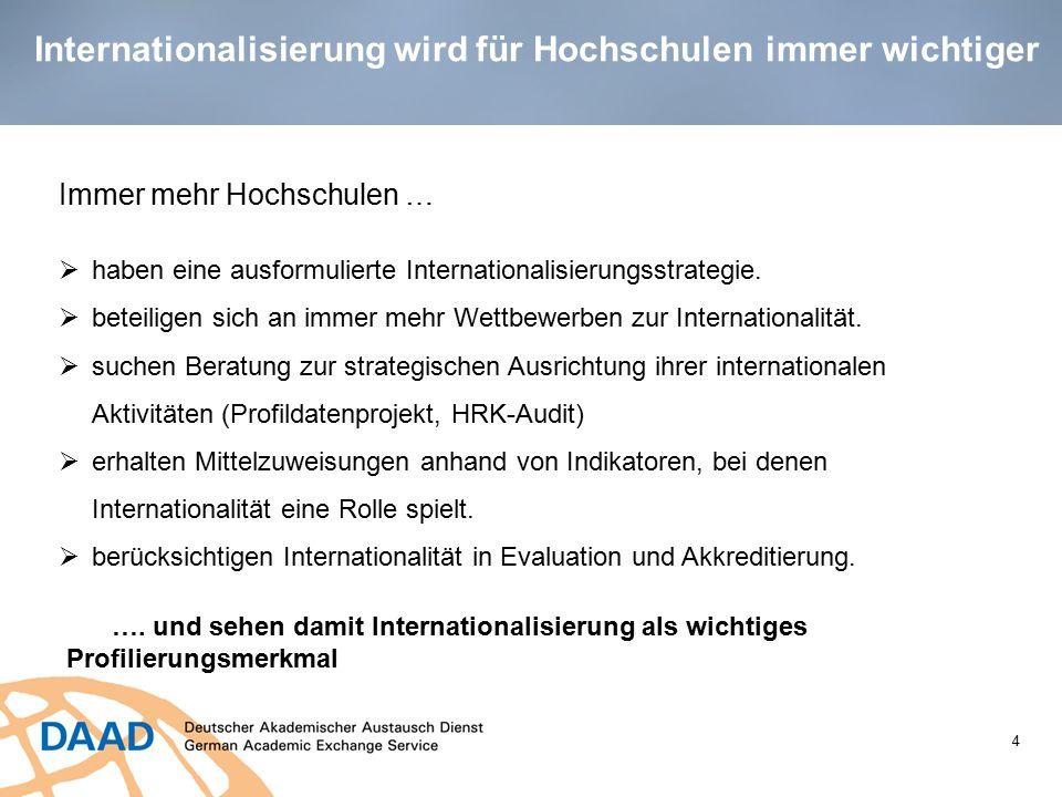 4 Immer mehr Hochschulen …  haben eine ausformulierte Internationalisierungsstrategie.  beteiligen sich an immer mehr Wettbewerben zur International