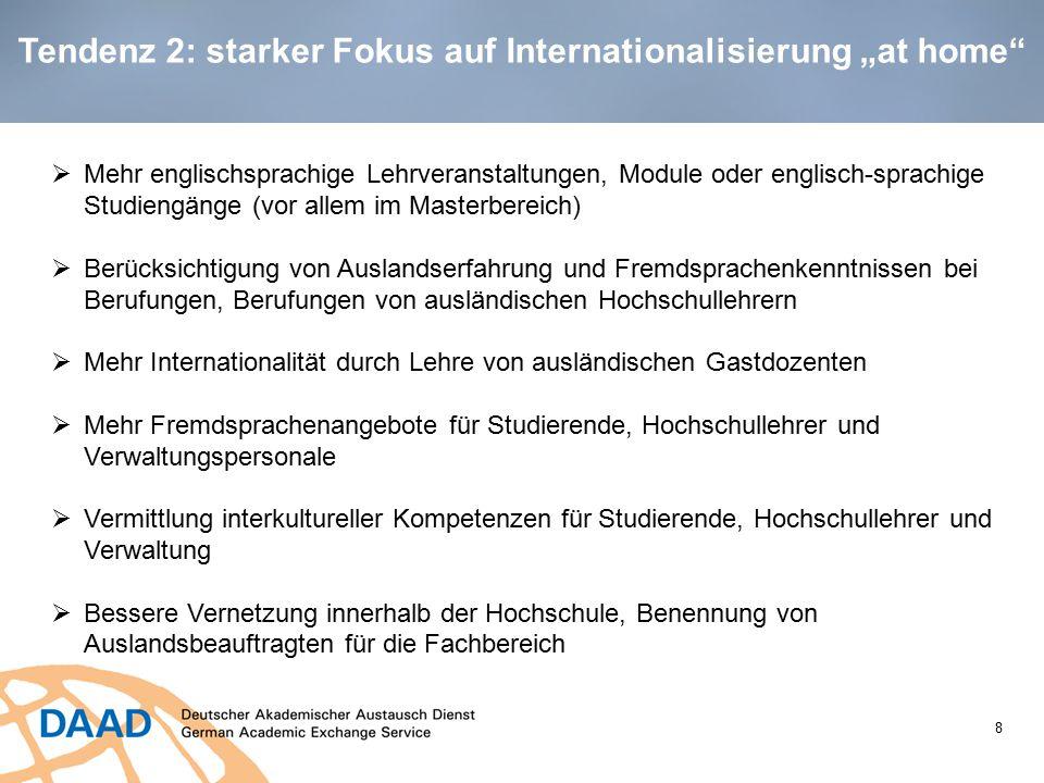 """Tendenz 2: starker Fokus auf Internationalisierung """"at home"""" 8  Mehr englischsprachige Lehrveranstaltungen, Module oder englisch-sprachige Studiengän"""