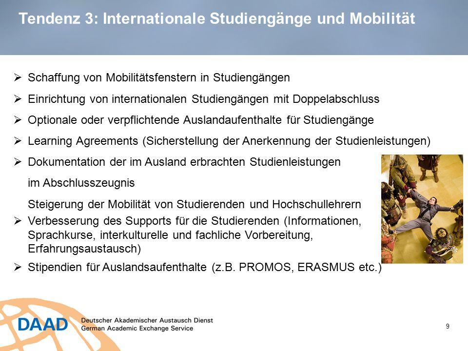 Tendenz 3: Internationale Studiengänge und Mobilität 9  Schaffung von Mobilitätsfenstern in Studiengängen  Einrichtung von internationalen Studiengä