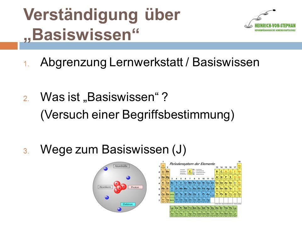 """Verständigung über """"Basiswissen"""" 1. Abgrenzung Lernwerkstatt / Basiswissen 2. Was ist """"Basiswissen"""" ? (Versuch einer Begriffsbestimmung) 3. Wege zum B"""