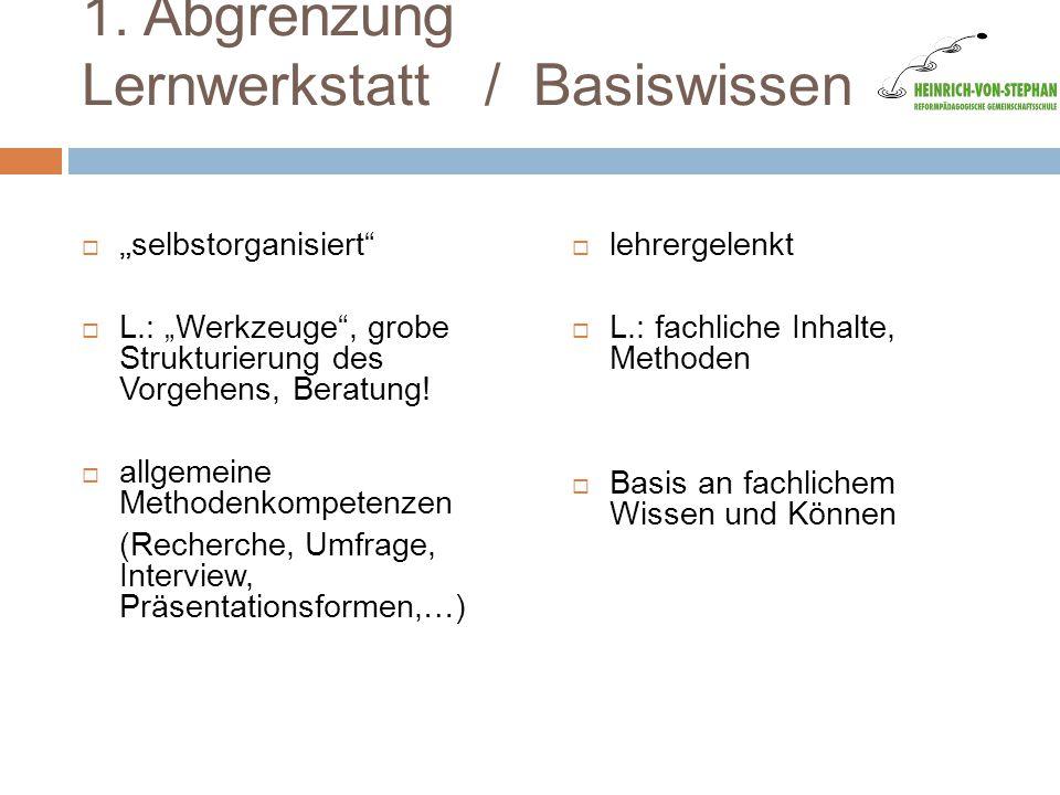"""1. Abgrenzung Lernwerkstatt / Basiswissen  """" selbstorganisiert""""  L.: """"Werkzeuge"""", grobe Strukturierung des Vorgehens, Beratung!  allgemeine Methode"""