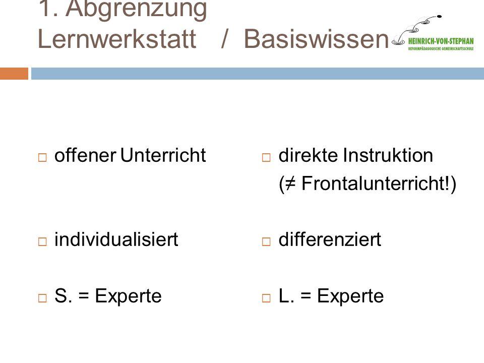 1. Abgrenzung Lernwerkstatt / Basiswissen  offener Unterricht  individualisiert  S. = Experte  direkte Instruktion (≠ Frontalunterricht!)  differ