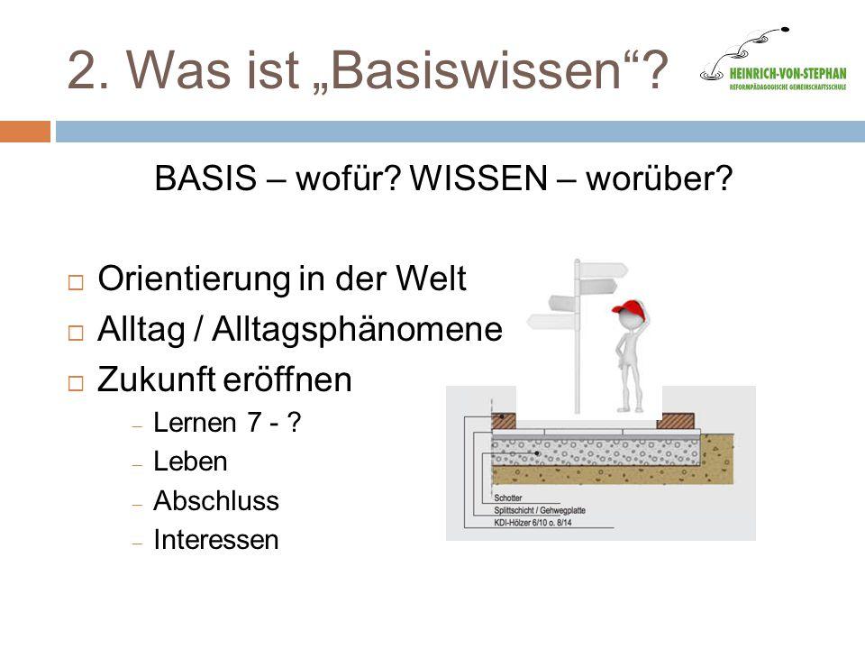 """2. Was ist """"Basiswissen""""? BASIS – wofür? WISSEN – worüber?  Orientierung in der Welt  Alltag / Alltagsphänomene  Zukunft eröffnen  Lernen 7 - ? """