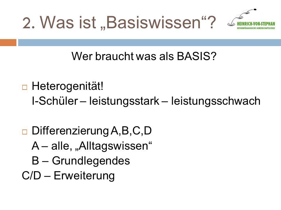 """2. Was ist """"Basiswissen""""? Wer braucht was als BASIS?  Heterogenität! I-Schüler – leistungsstark – leistungsschwach  Differenzierung A,B,C,D A – alle"""