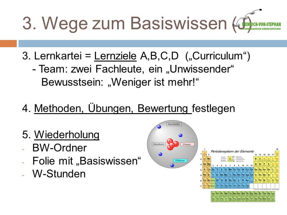 """3. Wege zum Basiswissen (J) 3. Lernkartei = Lernziele A,B,C,D (""""Curriculum"""") - Team: zwei Fachleute, ein """"Unwissender"""" Bewusstsein: """"Weniger ist mehr!"""