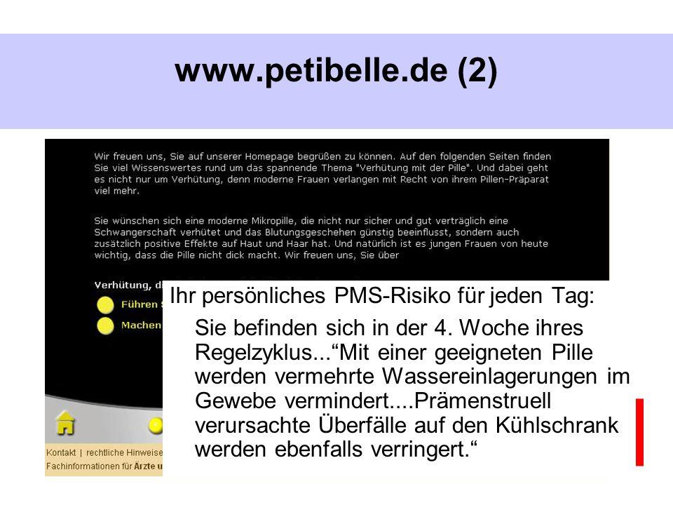 www.valette.de BUKO Pharma-Kampagne, Bielefeld www.petibelle.de (2) Ihr persönliches PMS-Risiko für jeden Tag: Sie befinden sich in der 4. Woche ihres