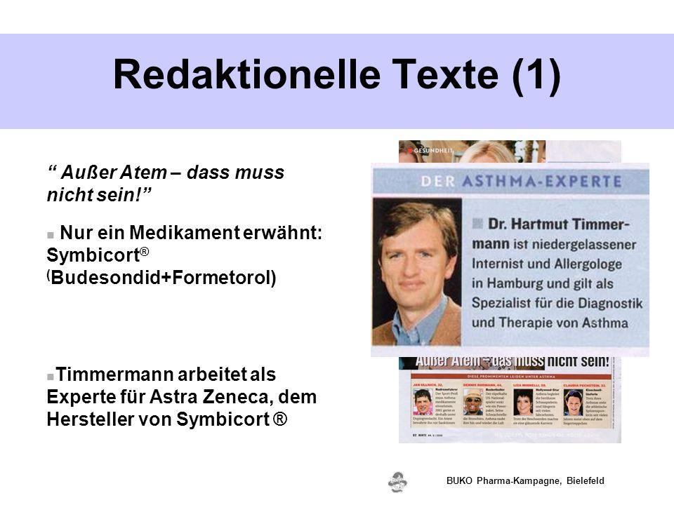 """www.valette.de BUKO Pharma-Kampagne, Bielefeld Redaktionelle Texte (1) """" Außer Atem – dass muss nicht sein!"""" Nur ein Medikament erwähnt: Symbicort ® ("""